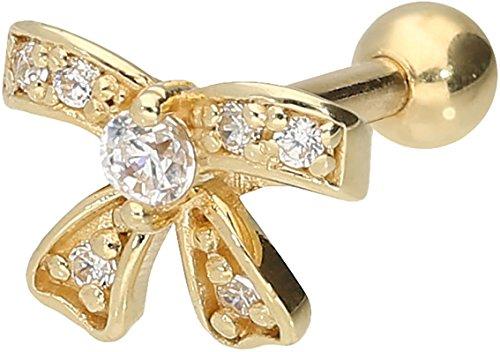PIERCINGLINE 750er Gold Ohrpiercing | 18 Karat | Schleife + Kristalle | Piercing Tragus Helix Conch | Farbauswahl
