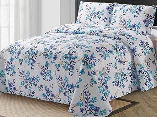 Euromat Zweiseitige Tagesdecke Bettüberwurf 3 TLG. 180x220 cm + 2 Kissenbezüge Tavira Blau Weiß Violett Blumen Telma