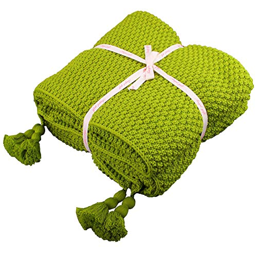 Shaddock 100prozent Baumwolle Kuscheldecke Tagesdecke Gestrickte überwurf Decke Ultra Weich Warm Wohn-Kuscheldecke für Baby Couch Bett Sofa Stuhl Auto Büro,130x180cm,4 Jahreszeiten Bettdecke (Frucht-Grün)
