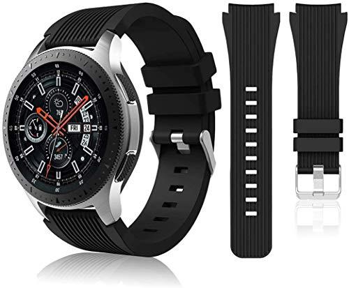 Correa de reloj compatible con Huawei Watch GT2 Pro/Samsung Galaxy Watch 46 mm/Galaxy Watch 3/Gear S3 45 mm 22 mm Smart Sport Watch Correa de repuesto para hombres y mujeres-negro