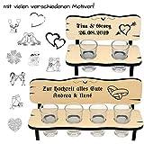 Personalisierte Schnapsbank aus Holz - Gravur mit Name + Spruch - mit Zwei Gläser oder 4, Geschenkidee zur Hochzeit, Geburtstag, Jubiläum, Stammtisch, romantisch für Pärchen