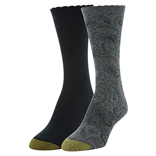 Gold Toe Damen Socken Little Paisley & Flat Knit Crew Socken 2 Paar, Anthrazit/Schwarz, Schuhgröße: 39-42
