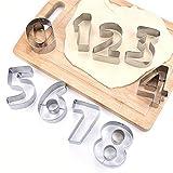 Plantillas para tartas con números de 0 a 8, moldes digitales para plantillas para tartas, molde plano de plástico para cortar, molde para decoración de tartas, para hornear, galletas y pasteles