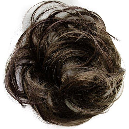 PRETTYSHOP Haarteil Haargummi Hochsteckfrisuren unordentlicher Dutt leicht gewell. Farbe: braun mix G34B