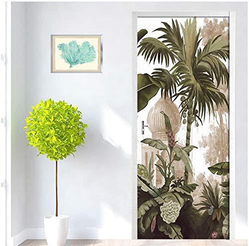 Eenvoudige Europese deursticker PVC Scenic Coconut Tree Poster waterdichte druk afbeeldingen slaapkamer vernieuwen Home Decoration Decal 95 * 215cm