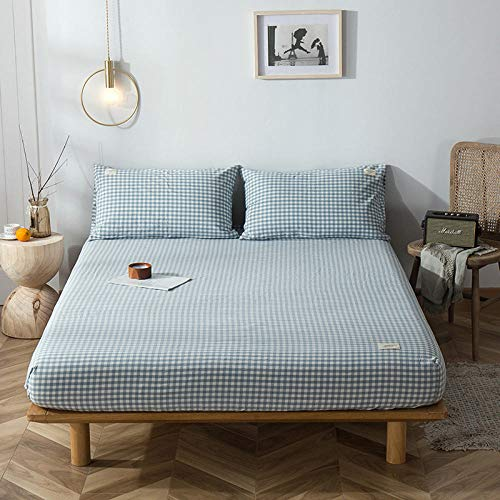 GTWOZNB Super Soft Warm and Cosy Fitted Bed Sheet Cotton bed sheet one-piece protective cover-water blue small grid a80_100*200+15cm