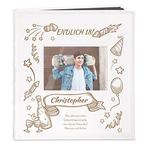 Murrano Fotoalbum zum Selbstgestalten mit Bildausschnitt + mit Gravur - für 240 Fotos 10x15-60 Schwarze Seiten - Größe 33x30cm - Weiß - Geschenk zum Geburtstag für Herren - Endlich 18