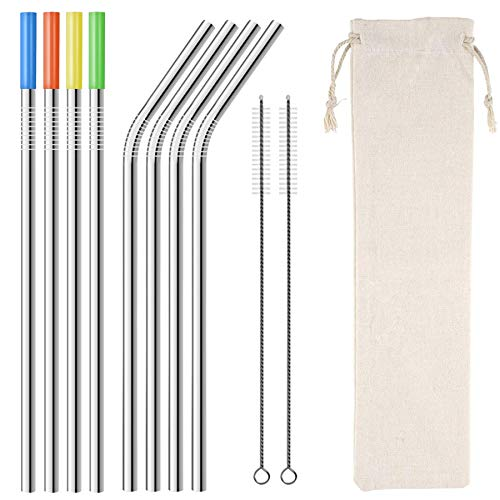 """Homemo Metal Stainless Steel Straws Drinking Straw 8 Reusable 10.5""""+ 2 Cleaning Brushs,silicone tips for Yeti RTIC SIC Ozark Trail Tumblers(4 Straight 4 Bent 2 Cleaning Brush silicone tip)"""