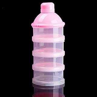 HEART SPEAKER Travel Kids Baby Feeding 4 Layers Milk Powder Dispenser Bottle Storage Container (Pink)