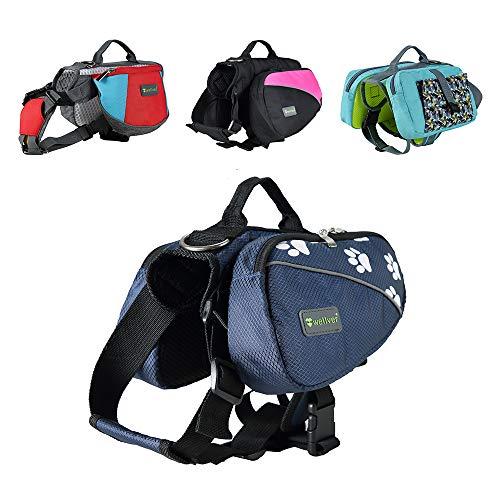 Wellver Adjustable Dog Saddle Bag Backpack, Hound Travel Saddle BagPacks Hiking Walking Camping for Small, Medium, Large & Extra Large Dogs