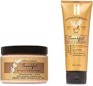 Aromatherapy -Thankful - Frankincense Myrrh – Creamy Body Scrub and Body Cream - 2 pc. Bundle - Bath and Body Works