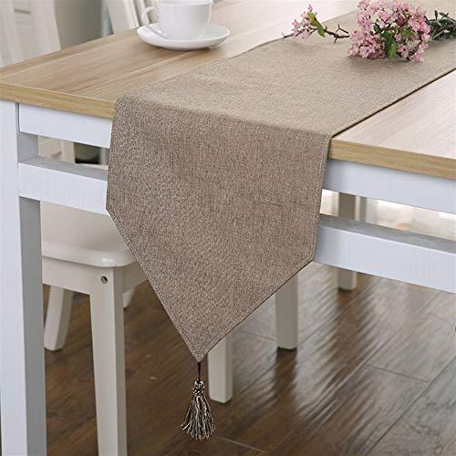 Squisito runner da tavolo Camino de mesa de la borla de la decoración de color sólido de lino simple moderna Mesa de comedor Mantel for la boda del partido de cena mesa de tapete -1 piezas per feste,