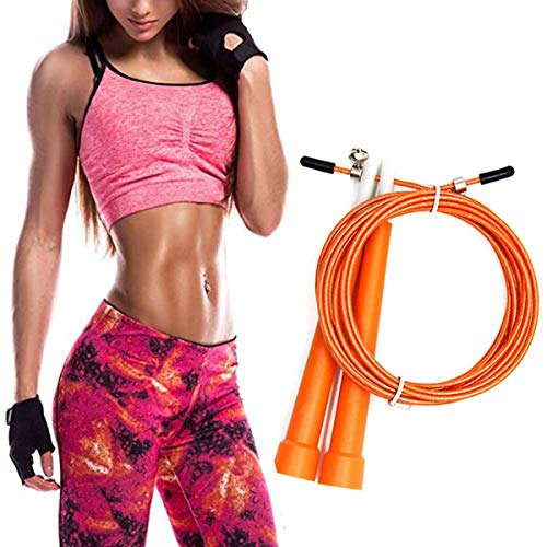 Springtouw Volwassene Fitness voor Mannen Vrouwen Kind Snelheid Springtouw Het Beste voor Vetverlies Conditionering Oefening Workout Boksen MMA HIIT Intervaltraining Single Double Under (Oranje)