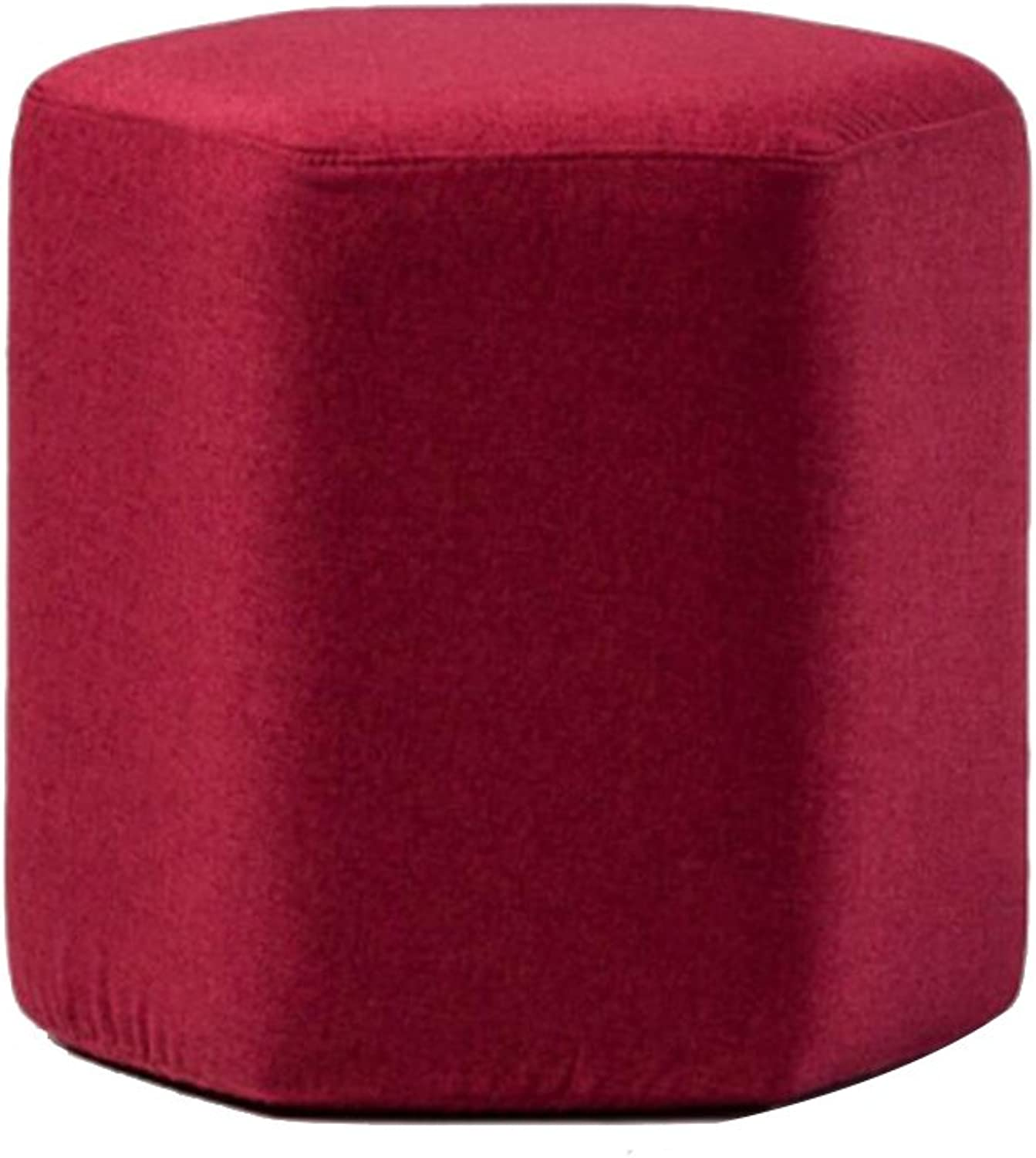 HQCC Change shoes Stool Creative Home Footstool Fabric Solid Wood Stool Coffee Table Stool Removable Washable Sofa Stool Hexagonal Shape Stackable Storage Stool (color   RED)