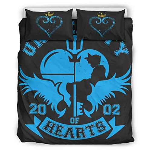 O5KFD & 8 Gloden kroon blauw hart beddengoedsets 3-delig hoofdkussen- en hoofdkussenslopen - zwart zachte microvezel Boho beddengoedset