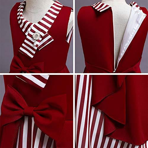 FYMNSI Vestido para niña de los años 50, vintage, rockabilly, de lunares, para noche, cumpleaños, fiesta, estilo años 50, 1# rojo., 6-7 Años