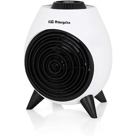 Orbegozo FH 5037 Calefactor eléctrico con termostato regulable, 2000W de potencia, 2 posiciones de calor y función ventilador de aire frío, Negro