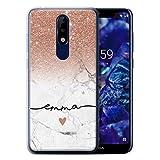 Personnalisé Coque pour Nokia 5.1 Plus/X5 2018 Ombre Pailleté Rose Gold Sparkle White Marble...
