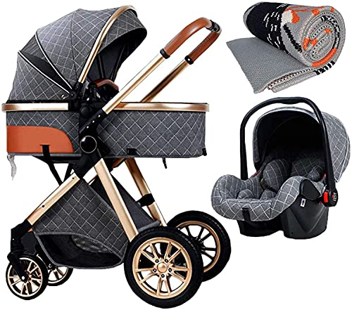 3 en 1 carruaje de cochecito con dosel de gran tamaño / fácil pliegue de una sola mano, cochecito de lujo plegable anti-shock springs High View Pram Cochecito de bebé con canasta de bebé (color: azul)