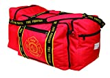 """OccuNomix OK-3000 Large Gear Bag, """"Firefighter"""" Woven In Reflective Trim Along Bag Straps, Maltese Cross Logo, 3 Compartments with 2 Outside Zip Pockets, 29"""" x 17"""" x 16"""", Red"""