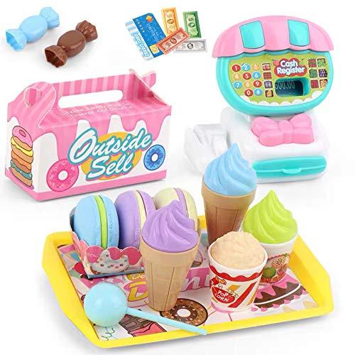 Bluebell 22pcs Toy Cash Register for Kids, Kids Smart Cash Register Toy, Pretend Play Food Set Toy Ice Cream Set for Kids Pretend Play Accessories Toy Best Gift for Kids (Ice Cream Set)