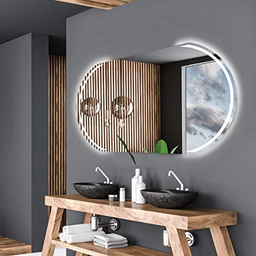 Alasta Spiegel | Kair Badspiegel 110x80cm mit LED Beleuchtung | LED Farbe Weiß Kalt | Wandspiegel mit LED Beleuchtung