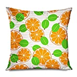 DANGCCI Throw Pillow Cover Square 16x16 Inches Green Berry Gooseberries Oranges Juice Gourmet Ripe Fruit Food Drink Dessert Diet Sour Flat Garden Decorative Pillow Cushion Case Home Decor Pillowcase