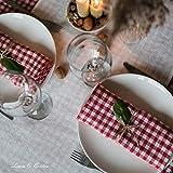 Linen & Cotton 4 x Stoffservietten Servietten Stoff Leinenservietten Kariert im Landhausstil Estella - 100% Leinen, Weiß Weiss Rot (32 x 32cm) Verschiedene Frühling/Home Küche Restaurant Cafe Bistro - 6