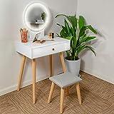 Ezigoo Conjunto de tocador con Espejo de Luces LED - Mesa Blanca de Maquillaje con cajón, Taburete Acolchado y Espejo de luminosidad Ajustable para el Cuarto de Maquillaje