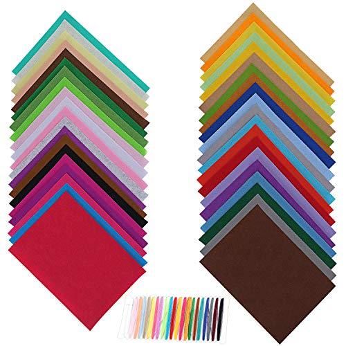 Coolty 40 hojas de fieltro para manualidades, manualidades, fieltro, varios colores para...