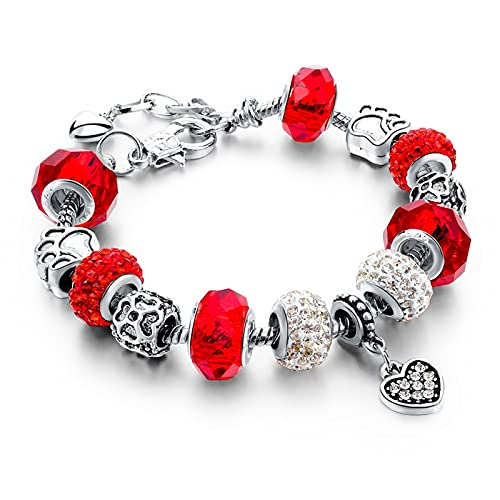 Crystal Charm Bracelets For Women Popular Trendy Crystal Beads Charm and Murano Glass Beads Bracelets (Red)
