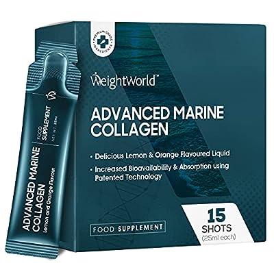 Marine Collagen Shots - 5000mg - NatiCOL Type 1 Marine Collagen Drink Sachets with Vitamin C, Vitamin B6 & CoQ10, Liquid Supplement for Women & Men, Keto Liquid - Natural Lemon & Orange Flavour