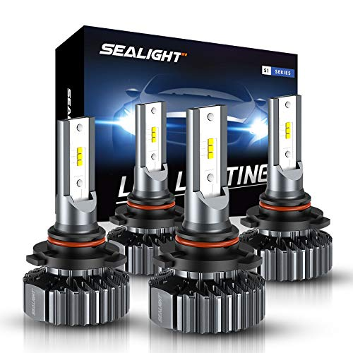 SEALIGHT S1 9005/HB3 High Beam 9006/HB4 Low Beam 14000LM LED Headlight Bulb Combo, 6000K Bright Daylight White, Quick Installation, Halogen Replacement