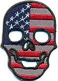 USA United States Fahne als Totenkopf Skelett Kopf Fahne Rockabilly Biker Punk Aufnäher