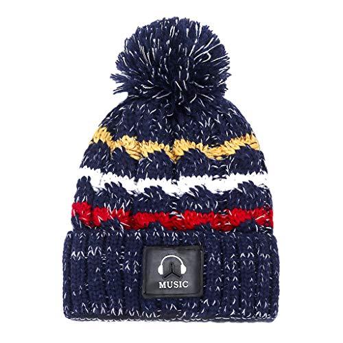 YXIU Frauen Mädchen Warme Wintermütze, Strickmütze Beanie Mütze Verdicken Wollmütze Knit Windproof Cap (Marine)