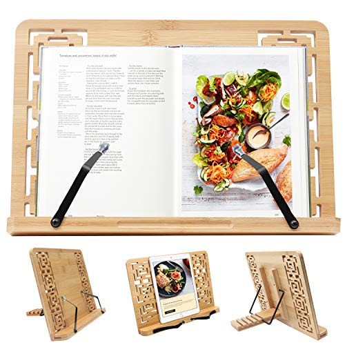 Bambù Supporto Per Libri - (33.5 x 24cm) Cuoco Porta Libri con 5 Altezze Regolabile - lettura Riposo Leggio pieghevole leggio - Supporto Multifunzionale per Ricettari, Musicale Nota, IPad e Tablet
