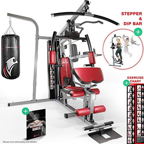 Sportstech Premium 50in1 Kraftstation für EIN Allround Training | Multifunktions-Heimtrainer mit Stepper & LAT-Zugturm | HGX Fitness-Station aus Eva Material | robust für Zuhause & Boxer