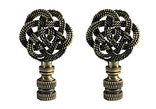 Royal Designs, Inc. Decorative Celtic Knot Lamp Finial (Antique Brass, Pair)