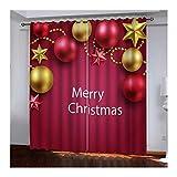 Daesar Cortinas Habitacion Opacas Rojo Amarillo Cortina de Salon Poliester Bolas de Decoración Navideña Merry Christmas 274x214CM