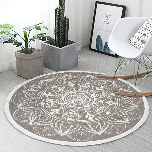 SHACOS Baumwollteppich Retro Böhmische Teppiche Rund Waschbar,Teppich Grau 120cm Rund mit Quasten Ideal für Wohnzimmer Büro usw.