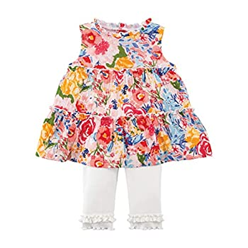 Mud Pie Baby Girls  Tiered Floral Tunic and Capri Multi 2T