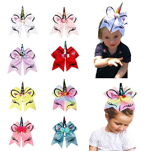 Oaoleer 8 inch Unicorn Cheer Bows for Cheerleader Girls Rainbow Hair Ponytail Tie with Elastic Band Pack of 4 (8pcs A_Unicorn Cheer Bows)