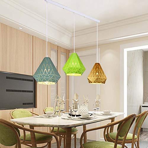 TQQ Iluminación colgante Lámpara Lampara Colgante Macaron Creativo Simple Moderno Tres Cabezas Restaurante Araña De Luces (Color : Long three heads)