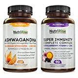 Ashwagandha + Immune Support: Maximum Potency Made With Organic Ashwagandha For Stress, Anxiety, Mood & Sleep & Immune Support With Vitamins C, B & E, Elderberry, Turmeric & Powerful Immunity Boosters