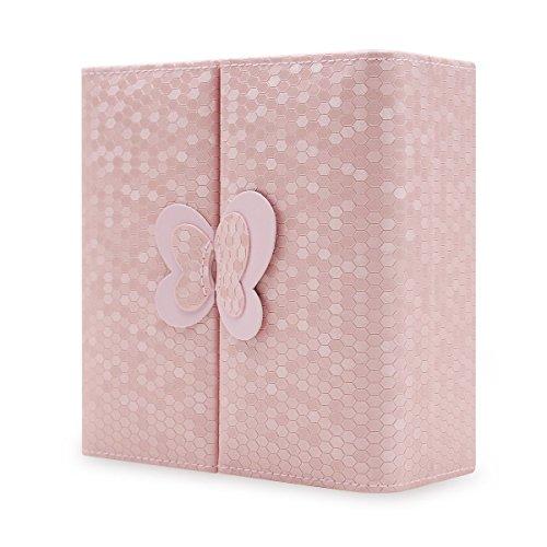 Basuwell Boîte à Bijoux pour Femmes Mallette/Coffrets/Anneaux de Boucles d'oreilles Plateau Collier Bracelet Voyage Bijoux Organisateur Montre Cas Boîte de Rangement (Rosa)