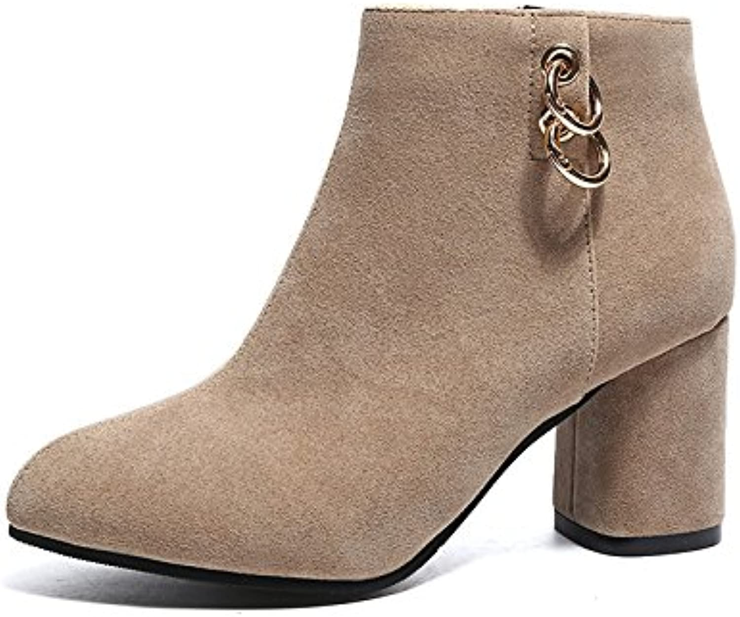 WYMBS Women's shoes Rough with Large Size Autumn Winter Suede Women's shoes Mid Heel Short Boots,Apricot,36