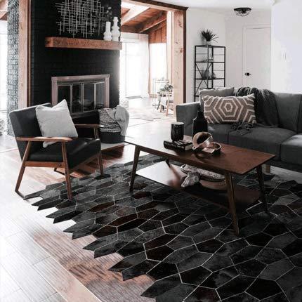 TQMB-A Alfombra de Arte Moderno Alfombra de Cuero Alfombra de Piel de Animal Alfombra geométrica Elegante Alfombra Dormitorio Sala de Estar alfombras alfombras para,A2,1.5 * 2.3M