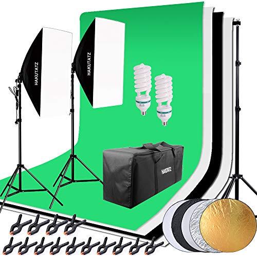 HAKUTATZ® Juego de estudio fotográfico profesional, lámpara de estudio, Sets de estudio, Sistema de fondo con 2 Fondos trípode de lámpara reflector 5 en 1, softbox, fotografía con funda protectora