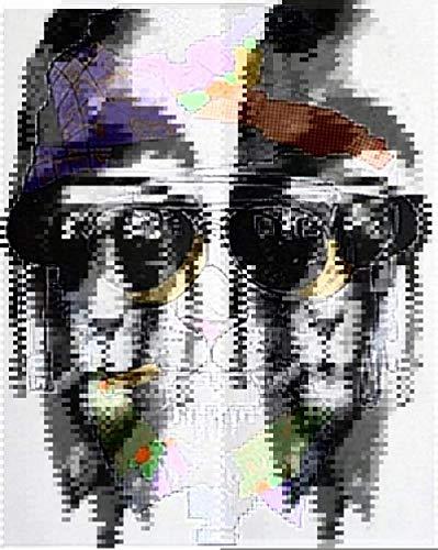 xdai DIY Malen nach Zahlen für Erwachsene Ölgemälde Kit für Kinder Anfänger,Abstrakter Huthund Leinwand Weihnachten Geschenk Heimdekoration Ohne Rahmen-50x60cm
