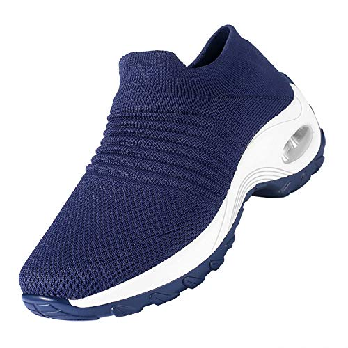 Women's Walking Shoes Slip on Sock Sneakers, Breathe Mesh Casual Running Jogging Nursing Work Shoes Lady Girls Modern Comfort Wedge Air Cushion Platform Easy Shoes(Navy Blue, Numeric_5.5)